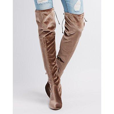 Velvet Tie-Back Over-The-Knee Boots