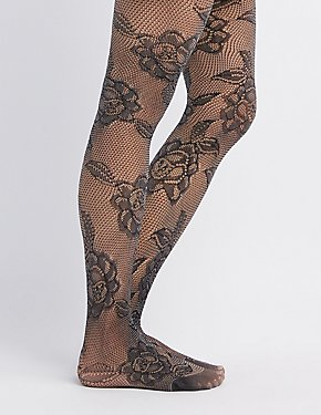 Two-Tone Floral Lace Tights
