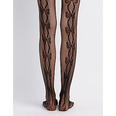 Bow Patterned Fishnet Tights
