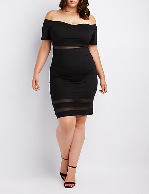 Plus Size Mesh Inset Off The Shoulder Bodycon Dress Charlotte Russe