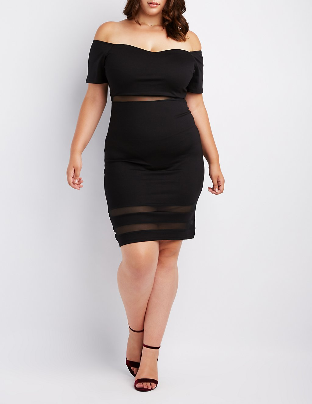 Plus Size Mesh-Inset Off-The-Shoulder Bodycon Dress | Charlotte Russe