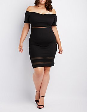 Plus Size Mesh-Inset Off-The-Shoulder Bodycon Dress