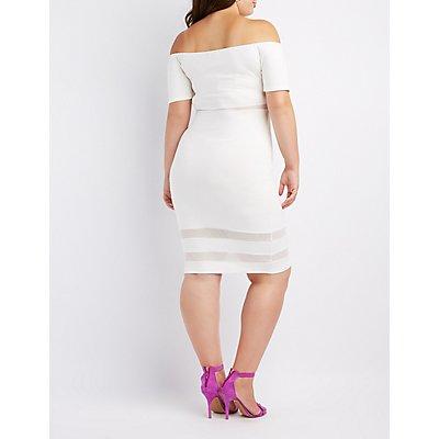 Plus Size Mesh-Inset Off-The-Shoulder Bodycon Dress
