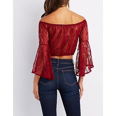 Lace Off-The-Shoulder Bell Sleeve Crop Top