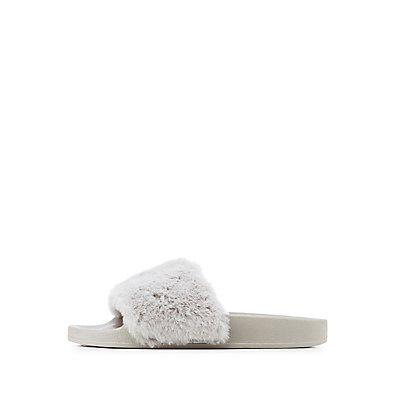 Faux Fur Slide Sandals