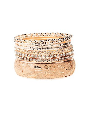 Embellished Bangle Bracelets - 8 Pack