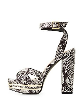 Bamboo Faux Snakeskin Platform Sandals