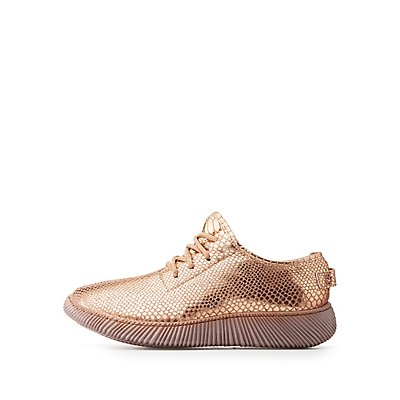 Bamboo Metallic Lace-Up Sneakers