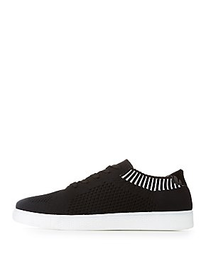 Bamboo Knit Lace-Up Sneakers