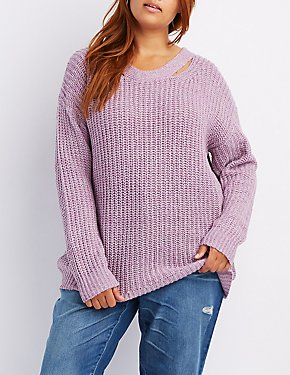 Plus Size Caged-Back Sweater