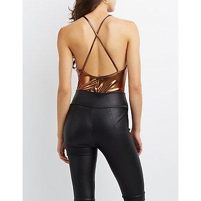 Metallic Strappy Back Bodysuit