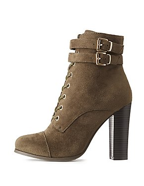 Wide Width Lace-Up Block Heel Booties