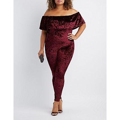 Plus Size Velvet Off-The-Shoulder Jumpsuit
