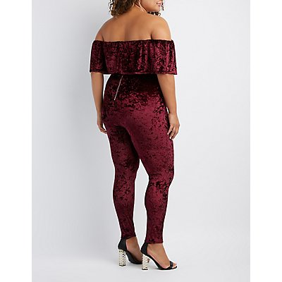 Plus Size Velvet Off-The-Shoulder Jumpsuit