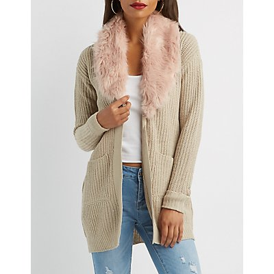 Faux Fur-Trim Open-Front Cardigan