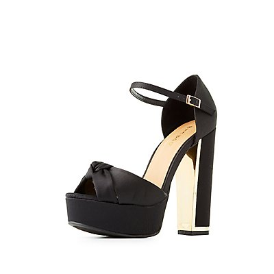 Bamboo Satin Two-Piece Platform Sandals