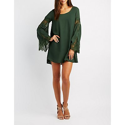Lace-Trim Bell Sleeve Shift Dress