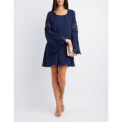 Lace-Inset Bell Sleeve Shift Dress