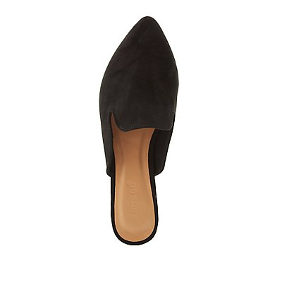 Bamboo Faux Suede Loafer Mules