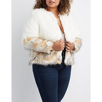 Plus Size Ombre Faux Fur Coat
