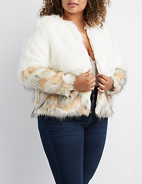 Plus Size Ombre Faux Fur Coat