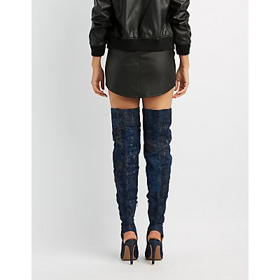 Metallic Printed Denim Over-The-Knee Peep Toe Boots