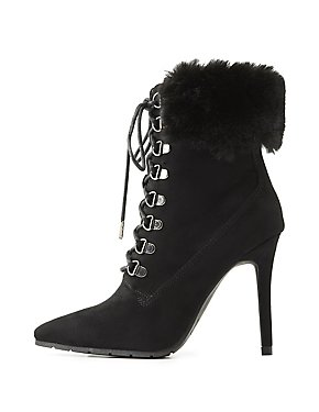 Faux Fur-Trim Lace-Up Dress Booties