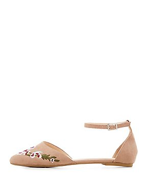 Embroidered Pointed Toe D'Orsay Flats