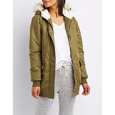 Faux Fur Hooded Long Bomber Jacket