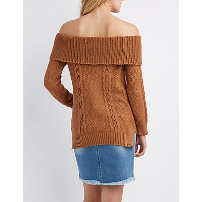 Shaker Stitch Off-The-Shoulder Pullover Sweater