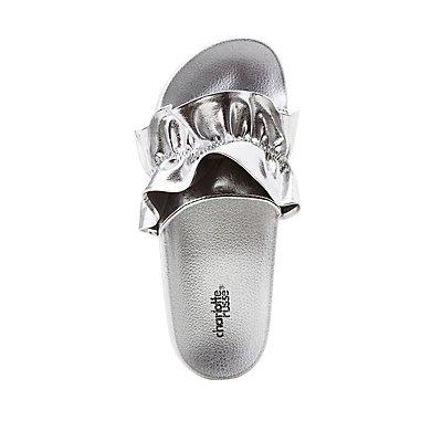 Ruffle-Trim Slide Sandals