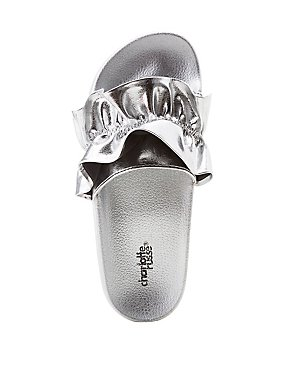 Ruffle-Trim Slide Sandals