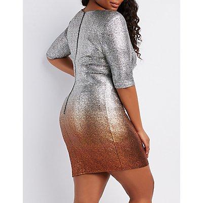 Plus Size Ombre Metallic Bodycon Dress