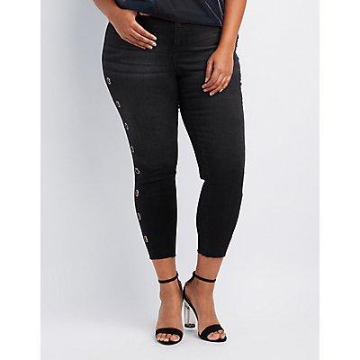 Plus Size Grommet-Detail Skinny Jeans