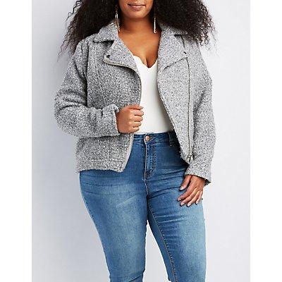 Plus Size Boucle Moto Jacket