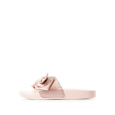 Qupid Satin Bow Slide Sandals