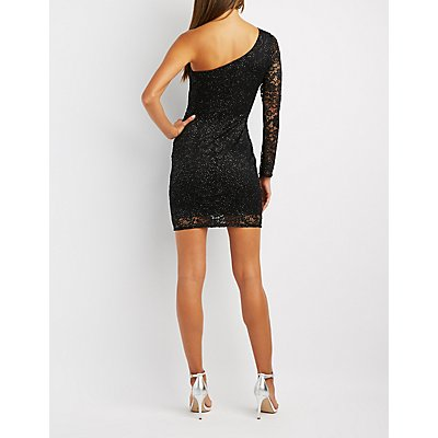 Lace One-Shoulder Bodycon Dress