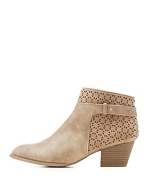 Qupid Laser Cut Ankle Booties