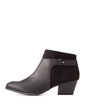 Qupid Perforated Belted Booties