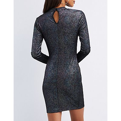 Mesh Inset Mock Neck Bodycon Dress