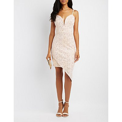 Sequin Crochet Asymmetrical Bodycon Dress