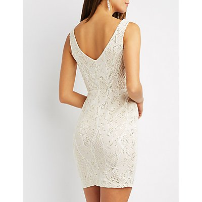 Sequin Crochet Bodycon Dress