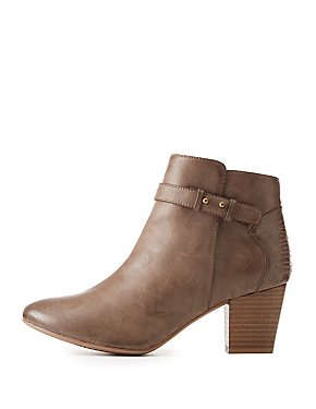 Qupid Burnished Buckle Booties