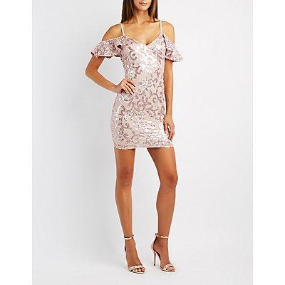 Sequins & Lace Cold Shoulder Bodycon Dress