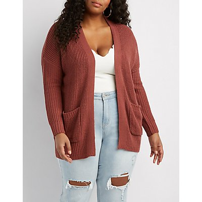 Plus Size Shaker Stitch Boyfriend Cardigan