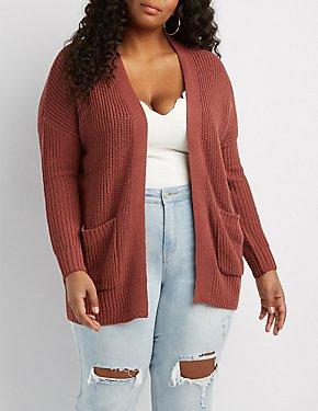 Plus Size Shaker Stitch Boyfriend Cardigan