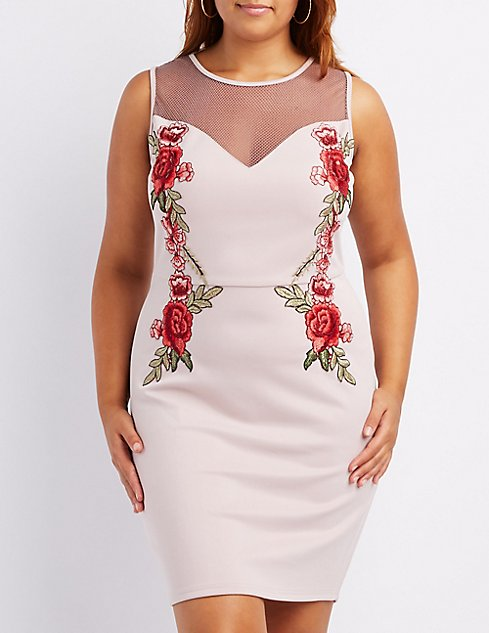Plus Size Embroidered Mesh-Trim Bodycon Dress | Charlotte Russe