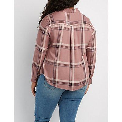 Plus Size Plaid Button-Up Pocket Shirt