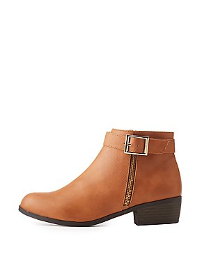 Qupid Low Buckled Booties