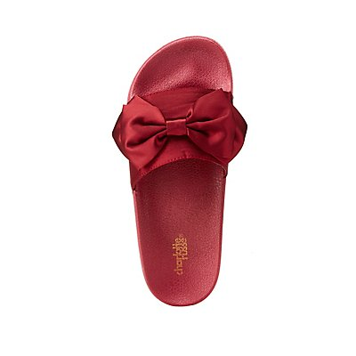 Satin Bow Slide Sandals